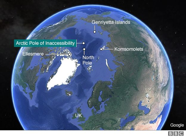 Arctic pole of inaccessibiliy map