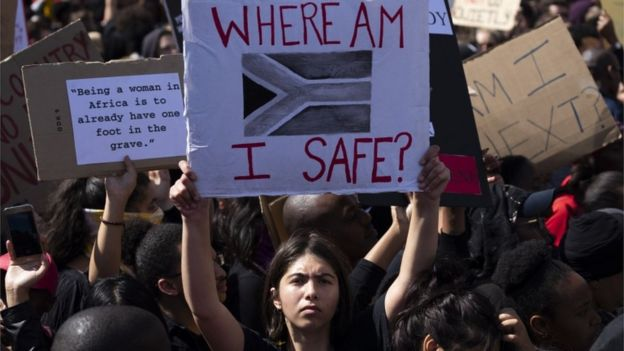 Tens of thousands protest outside parliament against gender based violence following a week of brutal murders of young South African women in Cape Town, South Africa, 05 September 2019