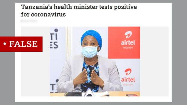 Screen grab of piece about Tanzania health minister