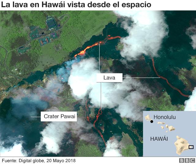 Mapa de la lava vista desde el espacio.