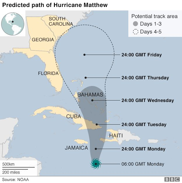 Map showing path of Hurricane Matthew in the Caribbean, 3 October 2016