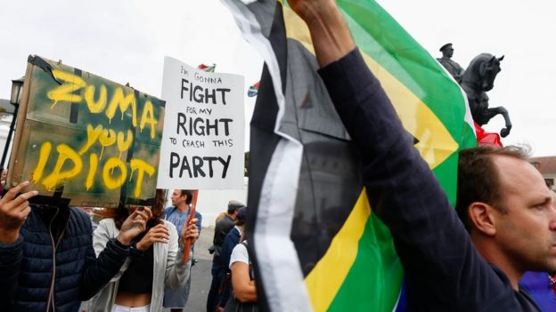 Protesters against sacking of Pravin Gordhan, Cape Town