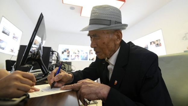 An elderly South Korean man visits the Red Cross office in Seoul on June 22, 2018 to fill out applications for an expected inter-Korean family reunion programme.