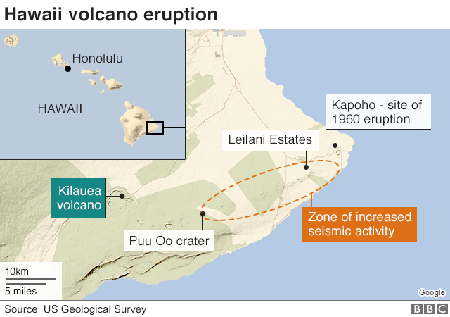 Kilauea Hawaii emergency declared over volcano eruption BBC News
