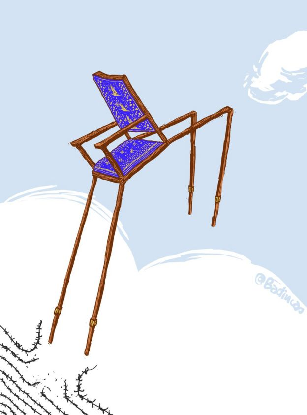 Cartoon depicting Liu Xiaobo's empty chair at the Nobel Peace Prize ceremony in 2010