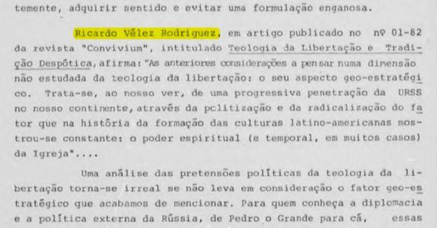 Reprodução de artigo de Vélez Rodríguez em dossie do SNI