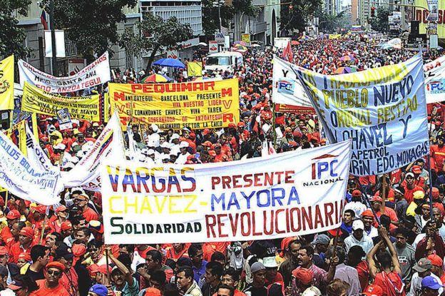 Protestas en Caracas el 1 de mayo de 2004.