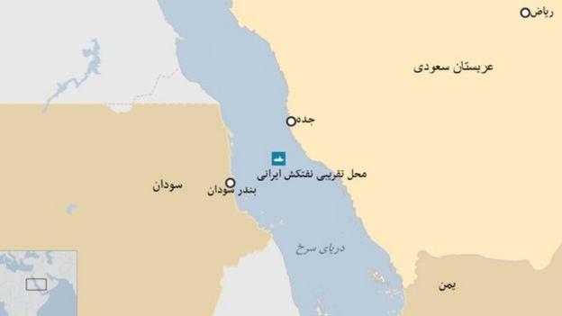 محل تقریبی نفتکش حادثه دیده ایرانی سابیتی در دریای سرخ