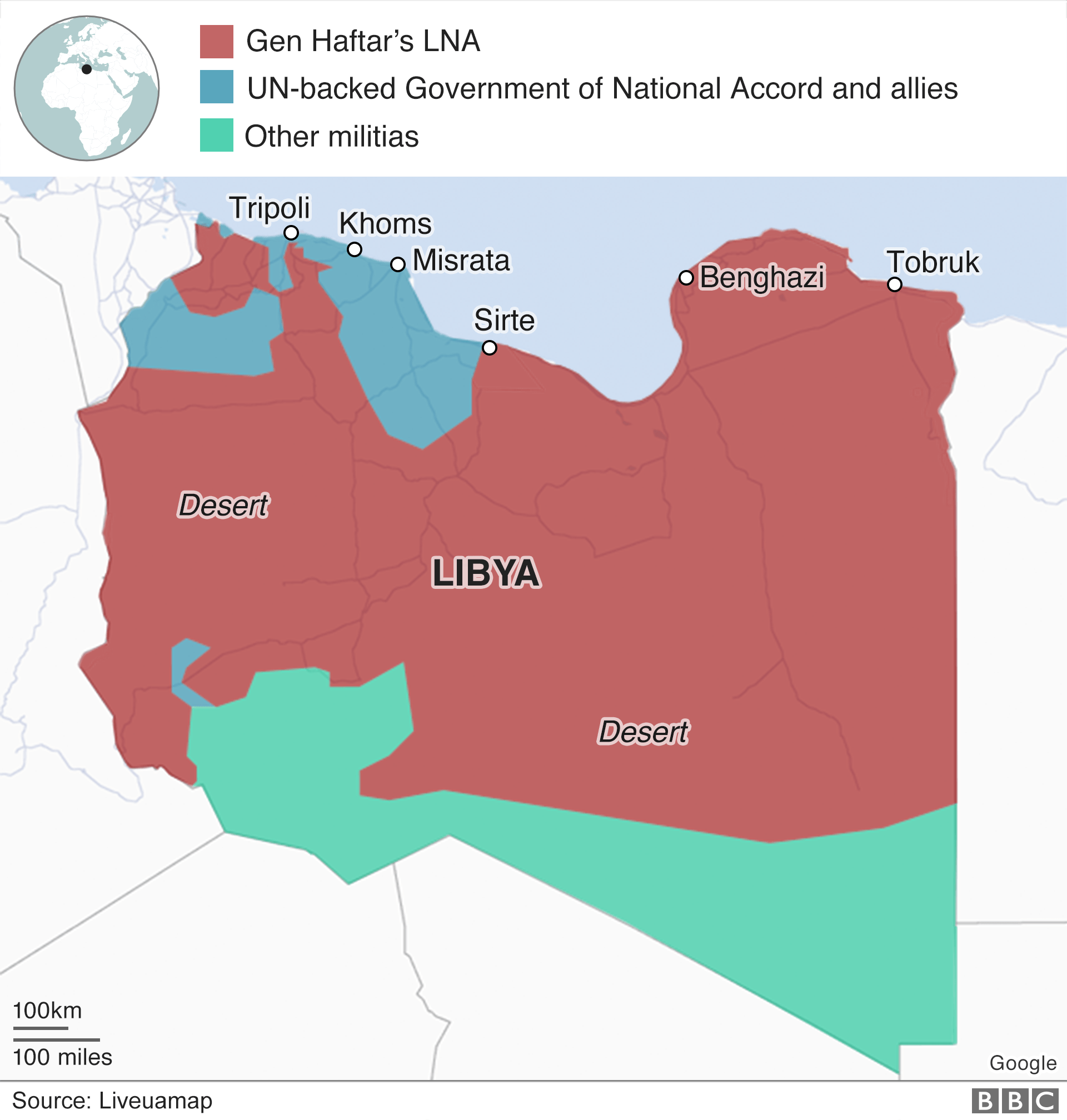 A map shows who controls different parts of Libya