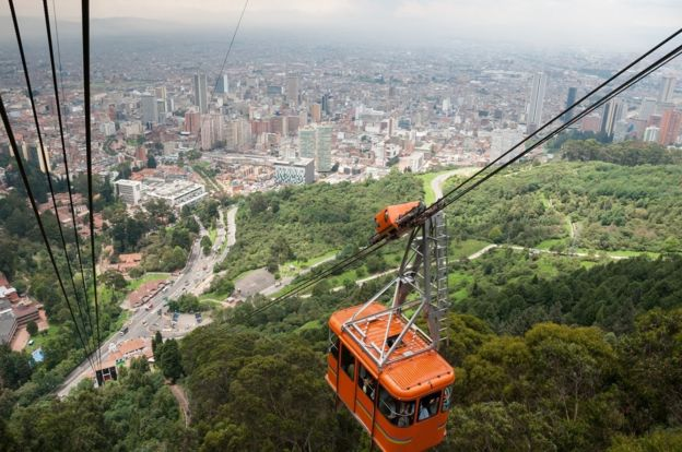 Vista aérea de Bogotá, capital de Colombia.