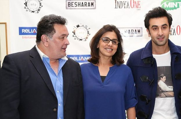 Rishi Kapoor with his wife Neetu and son Ranbir