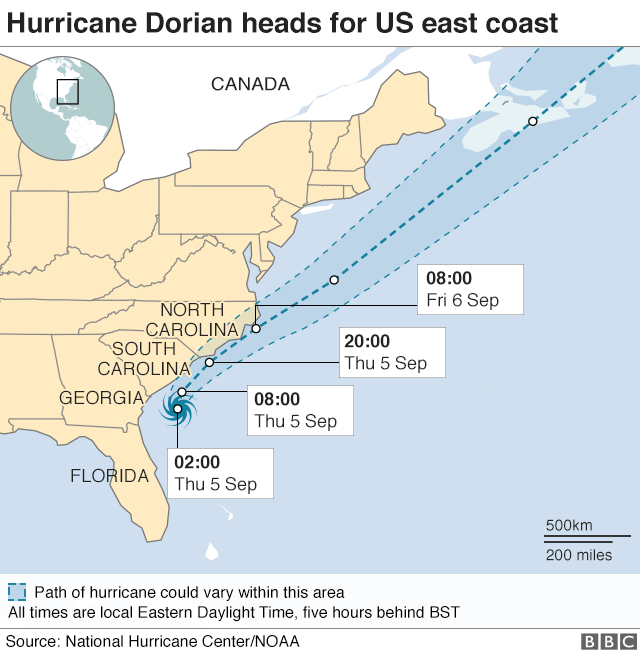 Graphic of Dorian's path