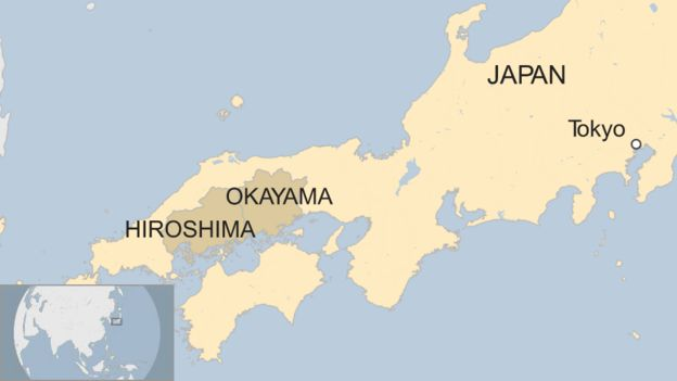 Japan floods 155 killed after torrential rain and landslides bbc news map showing the location of the hiroshima and okayama prefectures in the south west of japan gumiabroncs Image collections