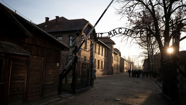 File photo showing the entrance to the Auschwitz concentration camp in Poland