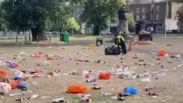 Rubbish left behind at Clapham Common