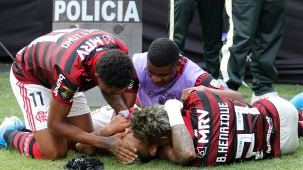 Los jugadores del Flamengo celebran la victoria en la Copa Libertadores