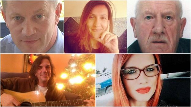 Clockwise from top left - PC Keith Palmer, Aysha Frade, Leslie Rhodes, Andreea Cristea and Kurt Cochran