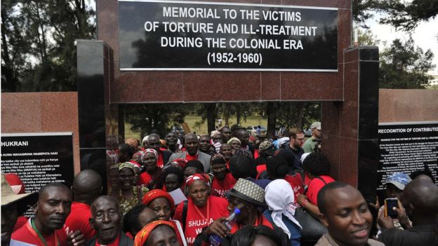 People, including members of the Mau Mau war veteran association, attend the unveiling of the memorial dedicated to the thousands killed, tortured and jailed in the Mau Mau rebellion on 12 September 2015, Nairobi, Kenya