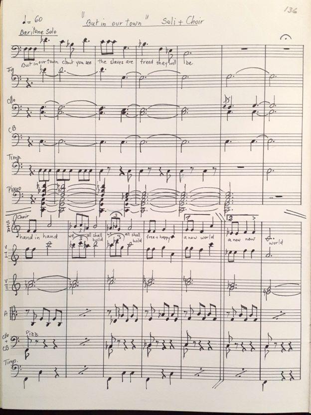 صفحهای از اپرای پریا به خط آهنگساز