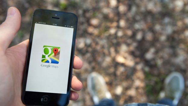 Image of a cell phone with the Google Maps application.