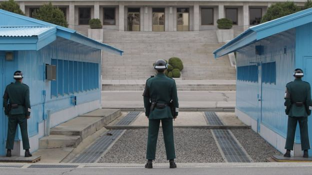 South Korean soldiers stand guard at border village of Panmunjom between South and North Korea at the Demilitarised Zone (DMZ) on April 23, 2013