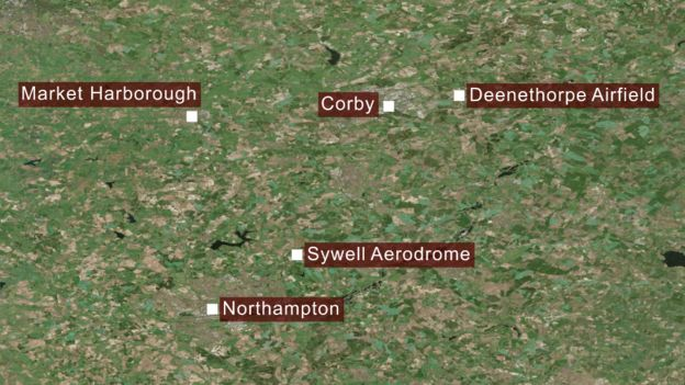 Map of locations the aircraft was flying between