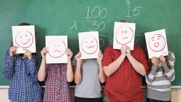 Niños con dibujos que representan emociones