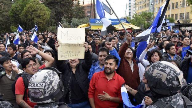 Manifestantes a favor de Evo