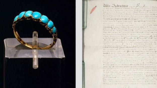 El anillo de compromiso que Charles regaló a Catherine en 1835, a la izquierda, y el parte de separación de la pareja en 1858, a la derecha.