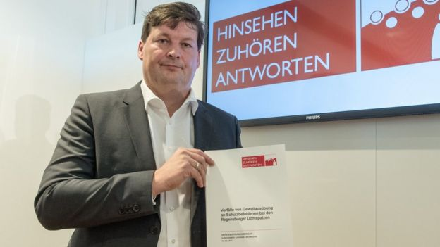 Lawyer Ulrich Weber, in charge of an investigation into an abuse scandal at the Regensburger Domspatzen boy's choir, presents his report during a press conference in Germany, 18 July 2017