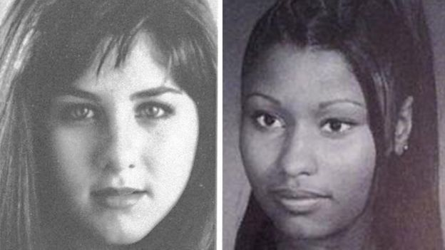 Yearbook photos of LaGuardia alumni, Jennifer Aniston and Nicki Minaj
