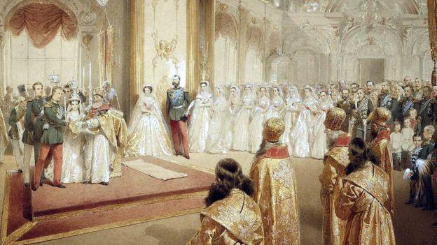 Венчание великого князя Александра Алесандровича и великой княгини Марии Федоровны (художник Михай Зичи, 1866 год)