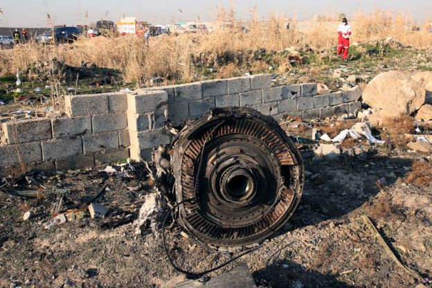 The remains of one of the UIA plane's engines was among the debris