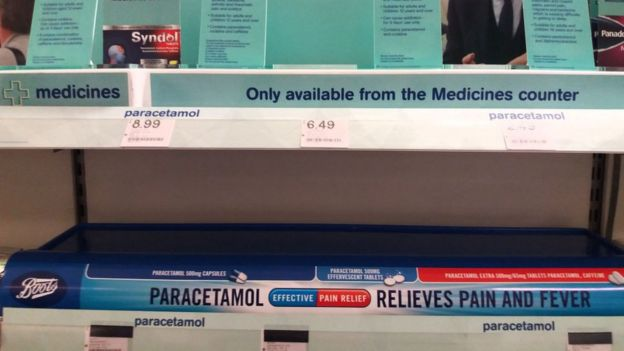 Empty paracetamol shelves
