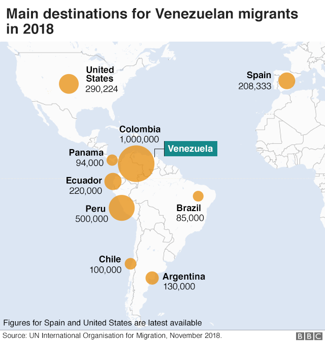 A map showing where Venezuelan migrants have gone