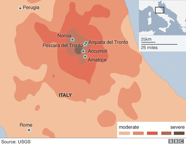 A map showing how an earthquake hit Italy