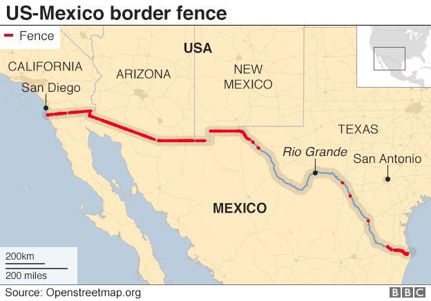Bản đồ bức tường biên giới Mỹ - Mexico