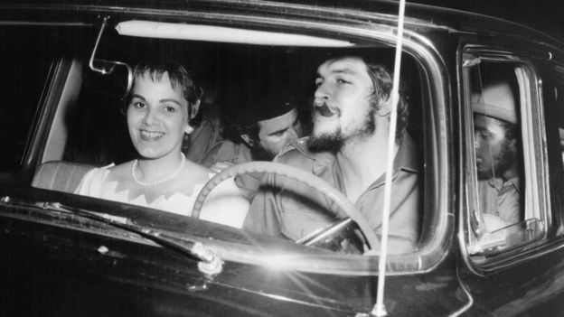 Che Guevara and Aleida March on their wedding day in Havana in June 1959