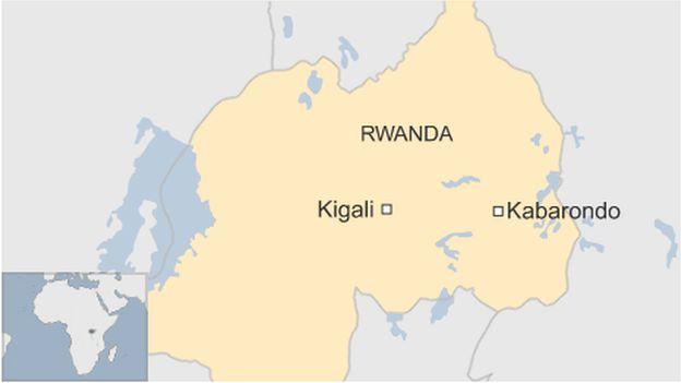 A map showing Kabarondo, Rwanda