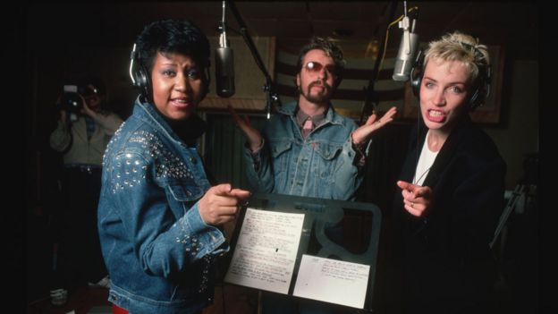 Aretha Franklin with Dave Stewart and Annie Lennox in 1985
