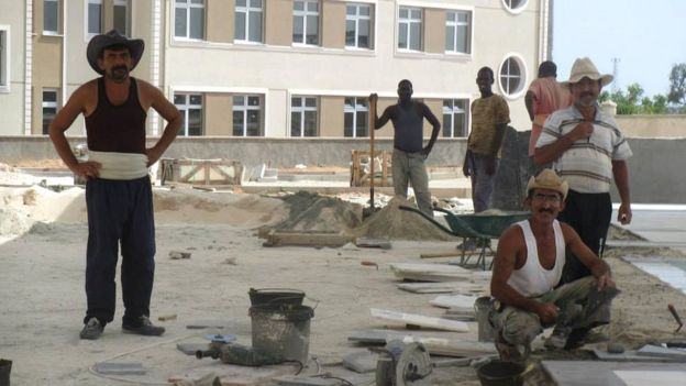 Turkish construction workers in Berbera