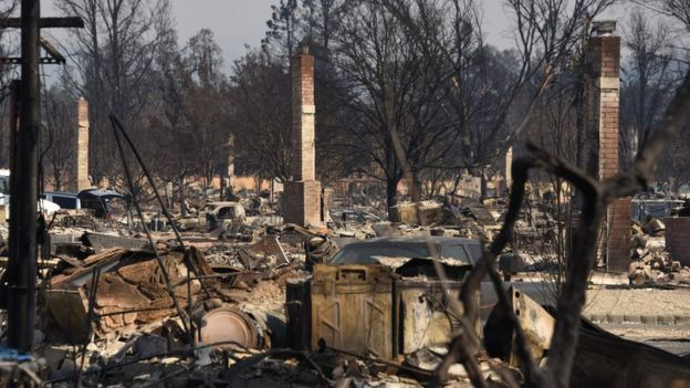 Only chimneys remain standing in the fire-ravaged Coffey Park neighbourhood in Santa Rosa, California. October 12, 2017