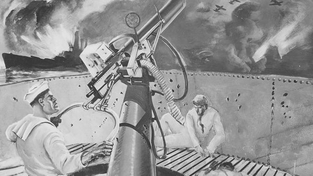 A mural showing Doris Miller firing at Japanese planes during the Pearl Harbor attack