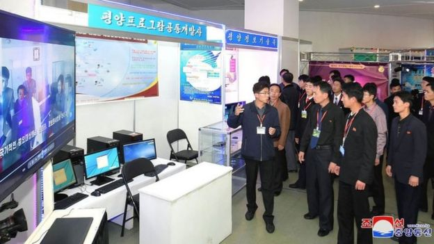 Evento de tecnologia em Pyongyang na Coreia do Norte em novembro