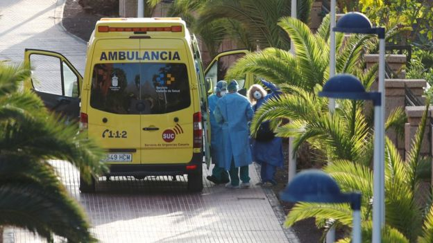 "A tourist affected by ""coronavirus"" is transferred to a hospital from the hotel H10 Costa Adeje Palace, which is on lockdown after novel coronavirus has been confirmed in Adeje, on the Spanish island of Tenerife, Spain"