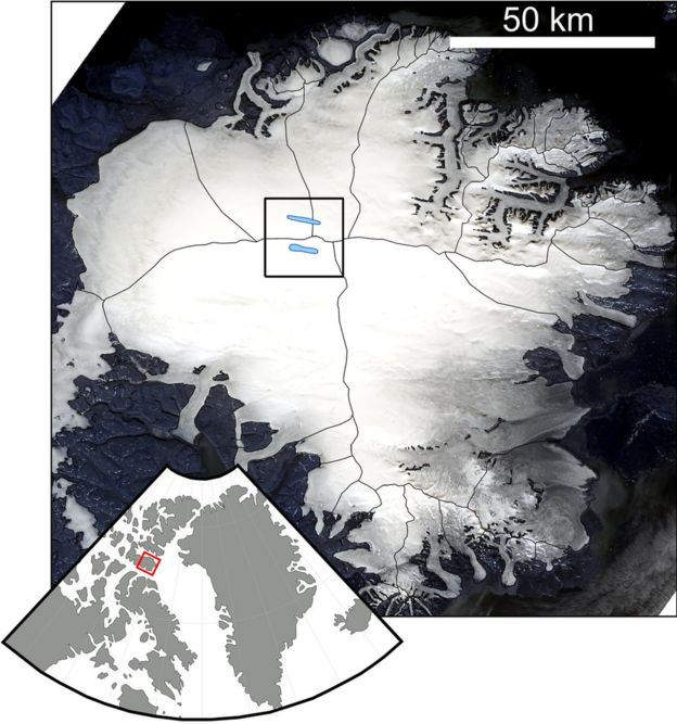 Satellite map of the Devon ice cap, showing the location of Devon island in the Canadian Arctic and two long lakes in the middle of the ice sheet