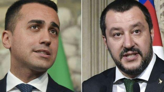 Beş Yıldız partisi lideri Luigi Di Maio ve Lig lideri Matteo Salvini