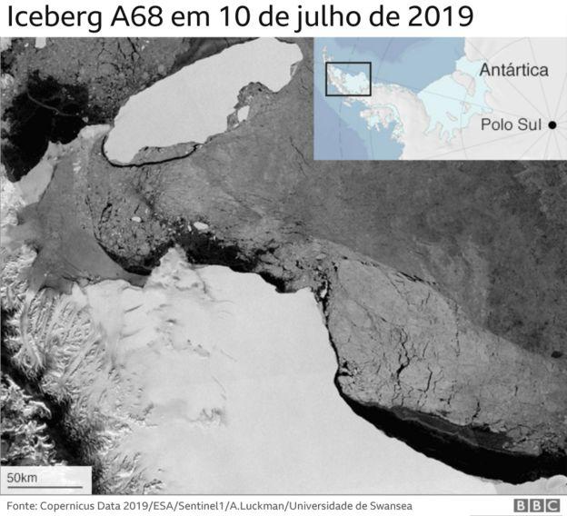 Trajetória do iceberg