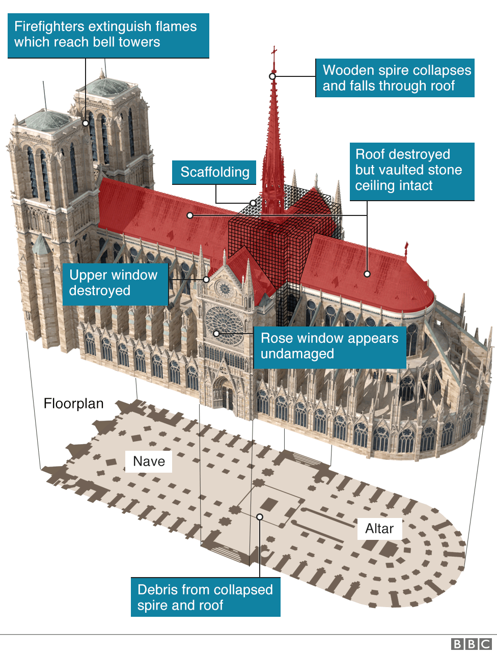 Graphic showing scale of damage to Notre-Dame