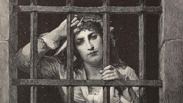 Charlotte Corday akiwa gerezani, baada ya kukamatwa